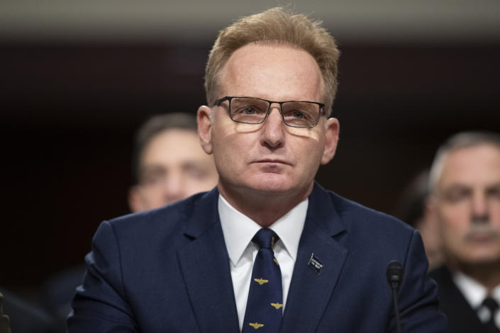 Acting Navy Secretary Thomas Modly testifies during a hearing of the Senate Armed Services Committee on Dec. 3, 2019 in Washington, on Capitol Hill. (Alex Brandon/AP)