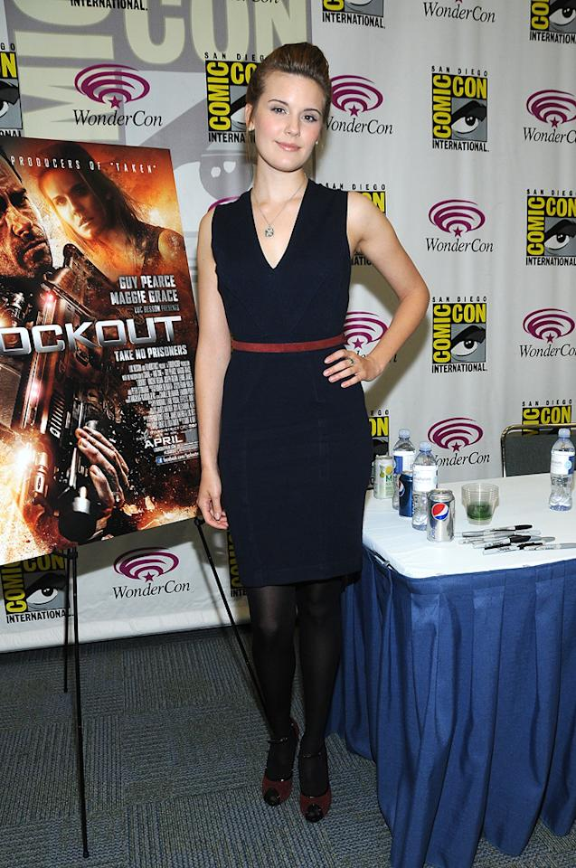 "Maggie Grace attends the ""Lockout"" conference at WonderCon 2012 - Day 1  at Anaheim Convention Center on March 17, 2012 in Anaheim, California."