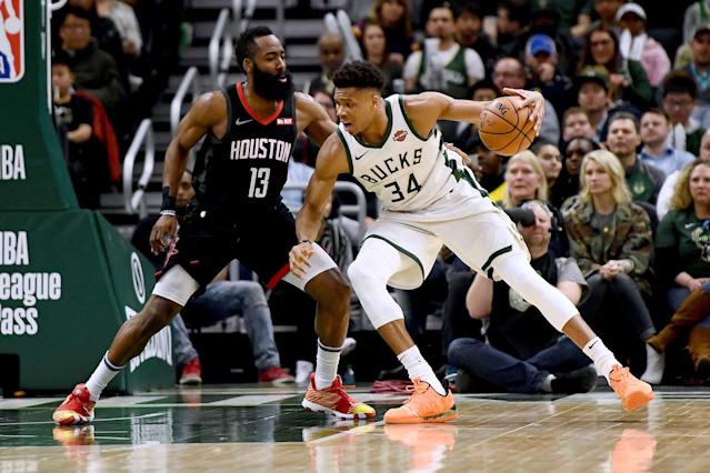 "<a class=""link rapid-noclick-resp"" href=""/nba/players/5185/"" data-ylk=""slk:Giannis Antetokounmpo"">Giannis Antetokounmpo</a> and James Harden, along with <a class=""link rapid-noclick-resp"" href=""/nba/players/4725/"" data-ylk=""slk:Paul George"">Paul George</a>, are finalists for the NBA's coveted MVP award. (Stacy Revere/Getty Images)"