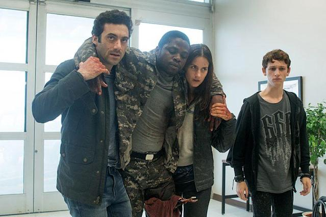 Morgan Spector as Kevin Copelant, Okezie Morro as Bryan Hunt, Danica Curcic as Mia Lambert, and Russell Posner as Adrian Garf in Spike's The Mist' (Photo Credit: Spike TV)