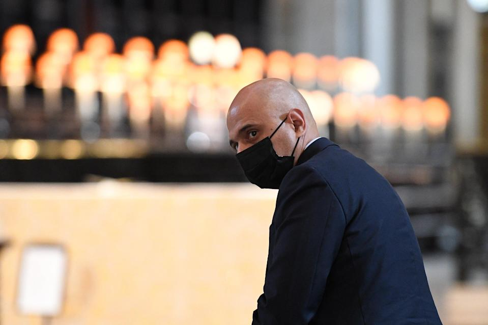 Health Secretary Sajid Javid leaves following the NHS service of commemoration and thanksgiving to mark the 73rd birthday of the NHS at St Paul's Cathedral, London (Stefan Rousseau/PA) (PA Wire)