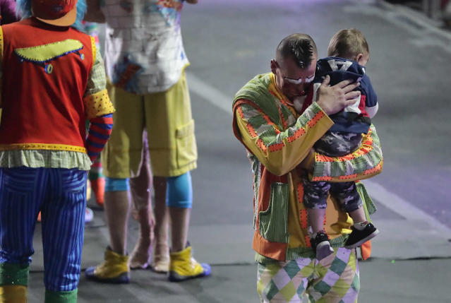 """<p>Ringling Bros. boss clown Sandor Eke hugs his 2-year-old son Michael after the red unit's final show, Sunday, May 7, 2017, in Providence, R.I. """"The Greatest Show on Earth"""" is about to put on its last show on earth. (Photo: Julie Jacobson/AP) </p>"""