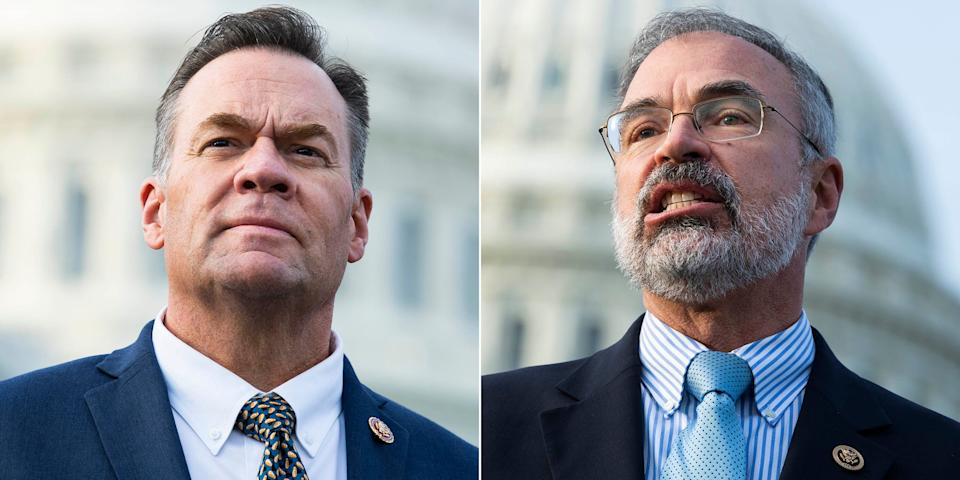 Rep. Russ Fulcher (R-Idaho), left, and Rep. Andy Harris (R-Md.) have come under scrutiny for incidents at the metal detectors that have been installed near the entrance to the House Floor. (Photo: Tom Williams/CQ-Roll Call, Inc/Getty Images)