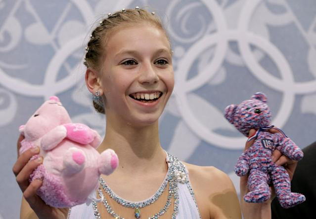Polina Edmunds of the United States waits in the results area after completing her routine in the women's free skate figure skating finals at the Iceberg Skating Palace during the 2014 Winter Olympics, Thursday, Feb. 20, 2014, in Sochi, Russia. (AP Photo/Bernat Armangue)