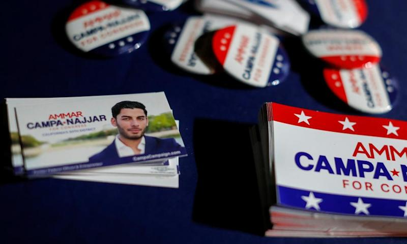 Campaign materials are displayed at an event for Ammar Campa-Najjar, a candidate for California's 50th district congressional race.