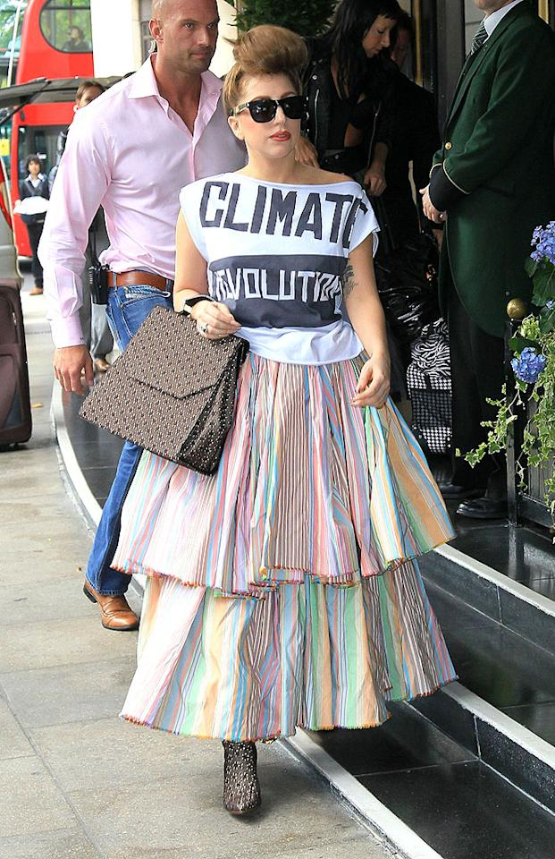"Speaking of tents, check out the tiered debacle (and equally unflattering bouffant) Lady Gaga unleashed on London earlier this week. She's <a target=""_blank"" href=""http://omg.yahoo.com/blogs/balancedliving/lady-gaga-gained-25-pounds-don-t-feel-161456906.html"">admitted to gaining some weight over the summer</a>, but you could easily fit four Gagas in that frock. (9/17/2012)<br><br><a target=""_blank"" href=""http://omg.yahoo.com/news/lady-gaga-gets-live-tattoo-perfume-launch-072158389.html"">Gaga gets live tattoo at perfume launch</a>"