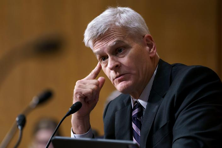 Sen. Bill Cassidy, R-La., questions Secretary of Health and Human Services Xavier Becerra on President Joe Biden's budget requests, at the Capitol in Washington, Thursday, June 10, 2021. Cassidy is working with a bipartisan group of 10 senators negotiating an infrastructure deal with President Joe Biden. (AP Photo/J. Scott Applewhite) ORG XMIT: DCSA135