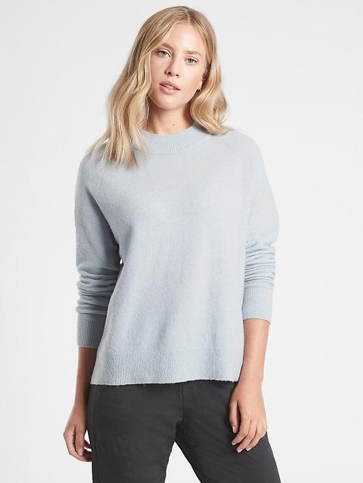 <p>The boucle<span>Athleta Hawthorn Crew Sweater</span> ($98) is incredibly versatile with leggings or jeans.</p>