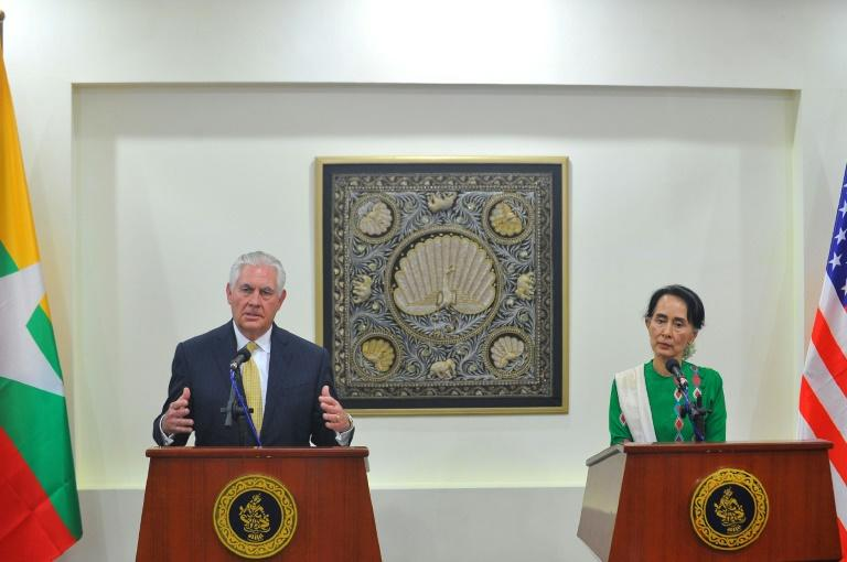 Washington says Myanmar's de facto civilian leader Aung San Suu Kyi (R), who met US Secretary of State Rex Tillerson (L) last week, has a crucial role to play in tackling the Rohingya crisis but has been careful to focus blame on the army