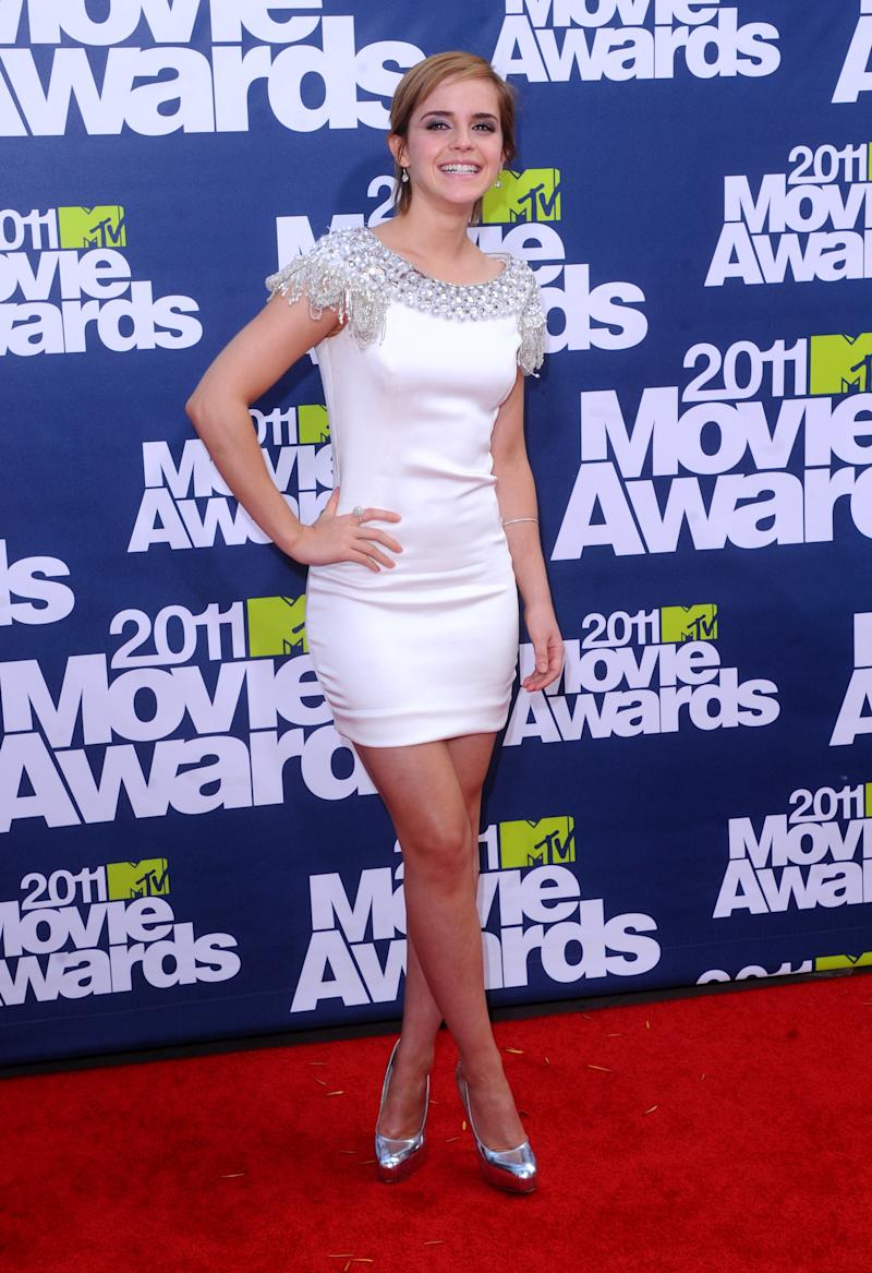 "Emma Watson in Marchesa at the 2011 MTV Movie Awards. She starred in The Weinstein Company's ""My Week With Marilyn.""  (Anthony Harvey via Getty Images)"