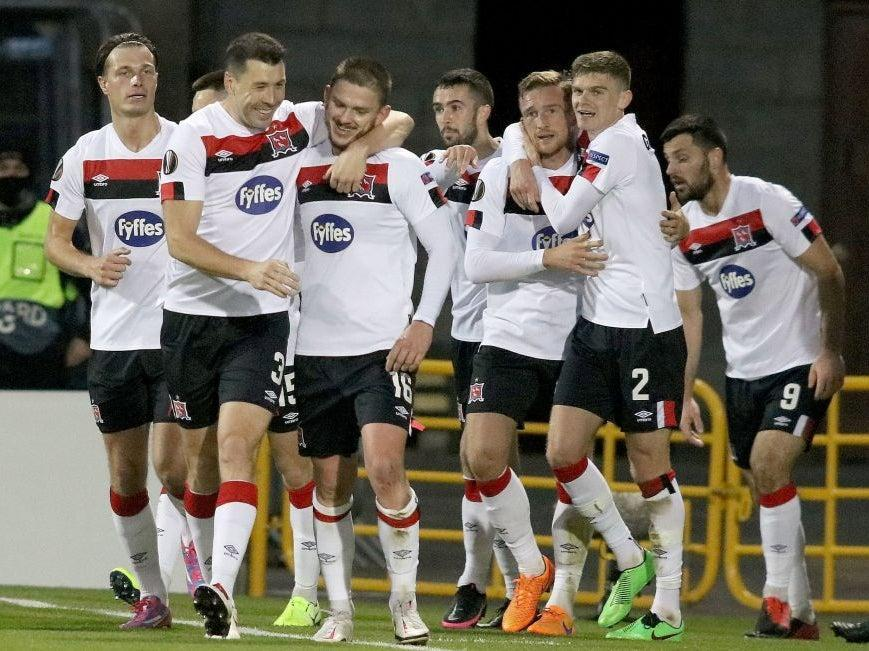 Dundalk's players celebrate scoring against Molde (Getty)