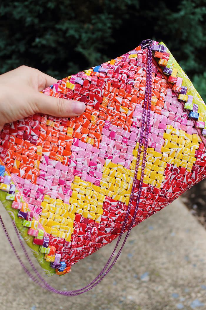 Emily used over 2,000 Starburst wrappers to create a co-ordinating clutch [Photo: Emily Seilhamer]