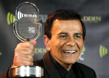 File photo of Casey Kasem posing with his Radio Icon Award at the 2003 Radio Music Awards, at the Aladdin Theatre for the Performing Arts in Las Vegas, Nevada