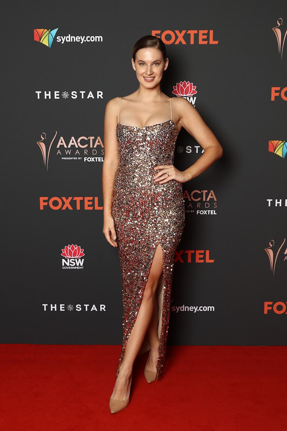 Bronte Bailey arrives ahead of the 2020 AACTA Awards presented by Foxtel at The Star on November 30, 2020 in Sydney, Australia.