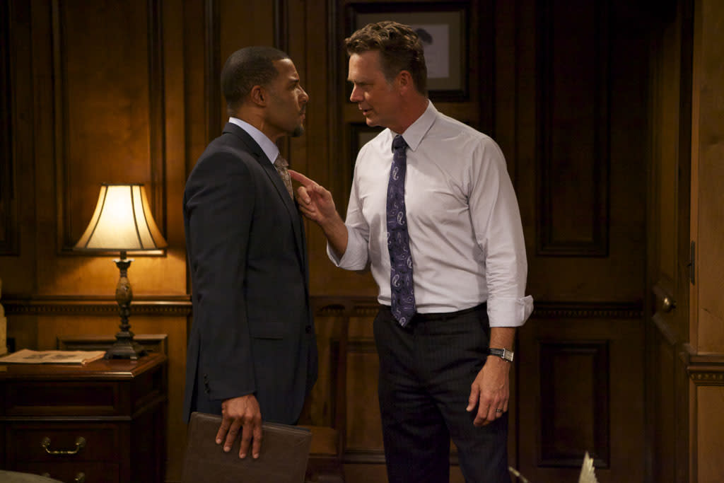 "Peter Parros as David Harrington and John Schneider as Jim Cryer in ""The Haves and the Have Nots"" episode, ""Playing in the Deep End."""