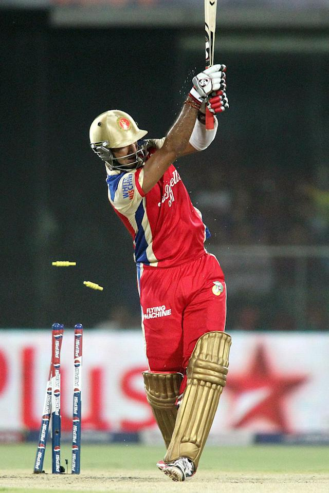 Cheteshwar Pujara of Royal Challengers Bangalore is clean bowled by Siddarth Kaul of Delhi Daredevils during match 57 of the Pepsi Indian Premier League between Delhi Daredevils and the Royal Challengers Bangalore held at the Feroz Shah Kotla Stadium, Delhi on the 10th May 2013. (BCCI)