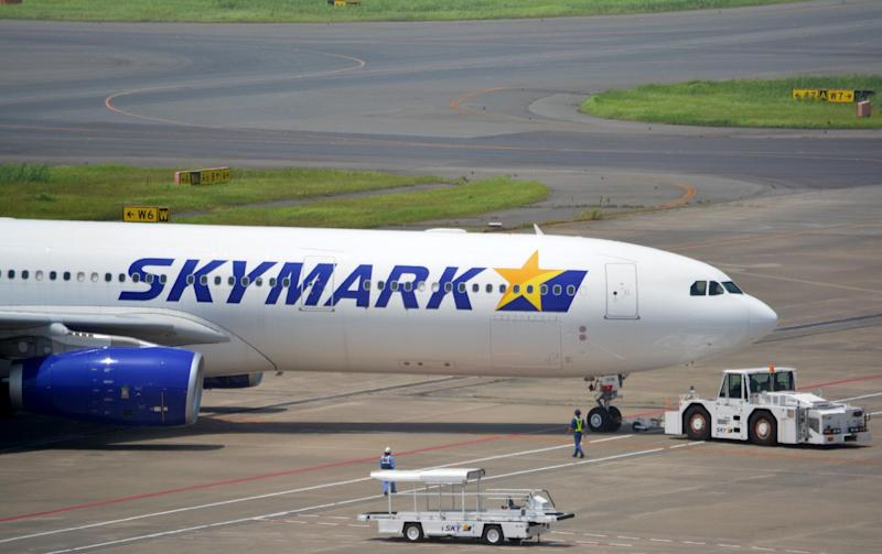 Skymark Airlines' Airbus A330-300 plane taxis at Tokyo's Haneda airport on July 30, 2014