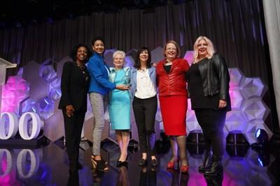 From left to right: Dr. Sheila Robinson, Shellye Archambeau, Edie Fraser, Andrea Conner, Hannah Kain, and Kimber Maderazzo