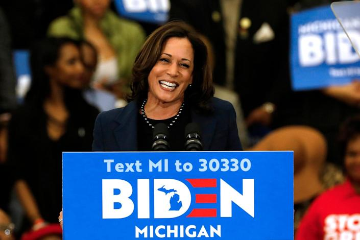 Kamala Harris endorses Joe Biden during a rally in Detroit, Michigan on 9 March 2020: JEFF KOWALSKY/AFP via Getty Images