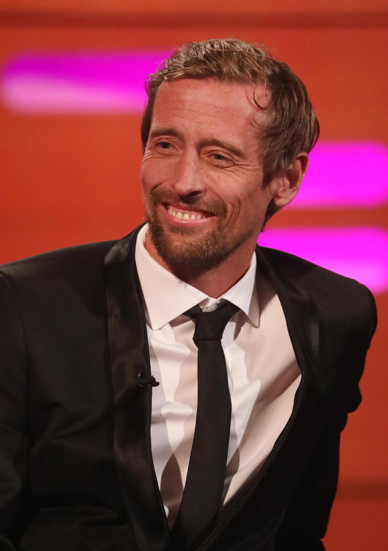 Peter Crouch during the filming for the Graham Norton Show at BBC Studioworks 6 Television Centre, Wood Lane, London, to be aired on BBC One on Friday evening.
