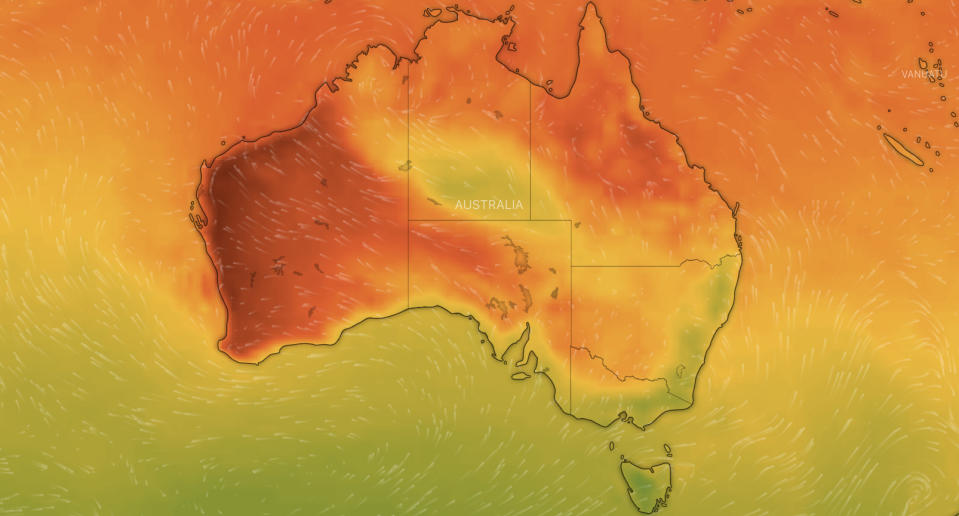 A weather map of Australia.