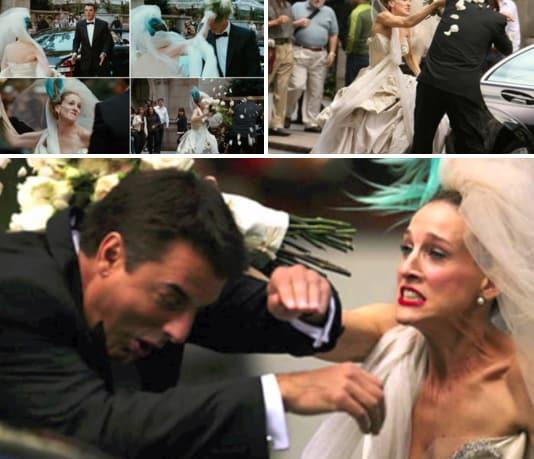 <p>When Mr Big backs out of the wedding and breaks Carrie's heart. Source: NBC </p>