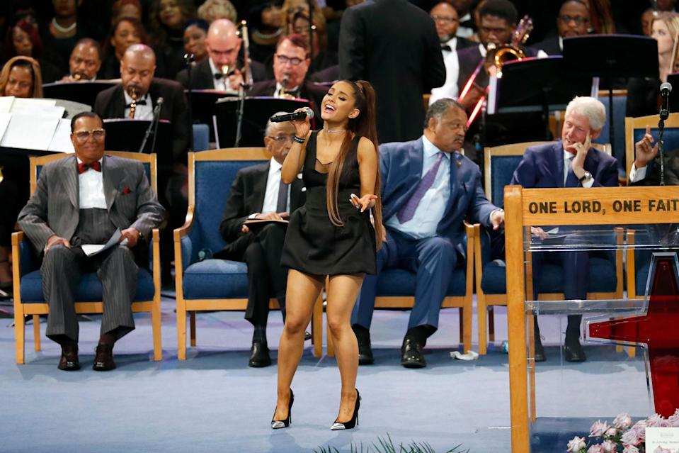 """<p>The singer was tapped to perform at the Queen of Soul's funeral in 2018. She performed """"(You Make Me Feel Like) A Natural Woman"""" and was joined by a star-studded <a href=""""https://people.com/music/aretha-franklin-funeral-stevie-wonder-faith-hill-performing/"""" rel=""""nofollow noopener"""" target=""""_blank"""" data-ylk=""""slk:list of performers"""" class=""""link rapid-noclick-resp"""">list of performers</a> that included <a href=""""https://people.com/tag/stevie-wonder/"""" rel=""""nofollow noopener"""" target=""""_blank"""" data-ylk=""""slk:Stevie Wonder"""" class=""""link rapid-noclick-resp"""">Stevie Wonder</a>, <a href=""""https://people.com/tag/faith-hill/"""" rel=""""nofollow noopener"""" target=""""_blank"""" data-ylk=""""slk:Faith Hill"""" class=""""link rapid-noclick-resp"""">Faith Hill</a>, <a href=""""https://people.com/archive/shirley-caesar-belts-the-gospel-according-to-god-and-grammy-vol-28-no-19/"""" rel=""""nofollow noopener"""" target=""""_blank"""" data-ylk=""""slk:Shirley Caesar"""" class=""""link rapid-noclick-resp"""">Shirley Caesar</a>, <a href=""""https://people.com/music/chaka-khan-first-time-step-stage/"""" rel=""""nofollow noopener"""" target=""""_blank"""" data-ylk=""""slk:Chaka Khan"""" class=""""link rapid-noclick-resp"""">Chaka Khan</a>, <a href=""""https://people.com/tag/jennifer-hudson/"""" rel=""""nofollow noopener"""" target=""""_blank"""" data-ylk=""""slk:Jennifer Hudson"""" class=""""link rapid-noclick-resp"""">Jennifer Hudson</a>, <a href=""""https://people.com/awards/yolanda-adams-christina-aguilera-perform-aretha-franklin-tribute-at-grammys/"""" rel=""""nofollow noopener"""" target=""""_blank"""" data-ylk=""""slk:Yolanda Adams"""" class=""""link rapid-noclick-resp"""">Yolanda Adams</a>, Marvin Sapp and Vanessa Bell Armstrong.</p>"""