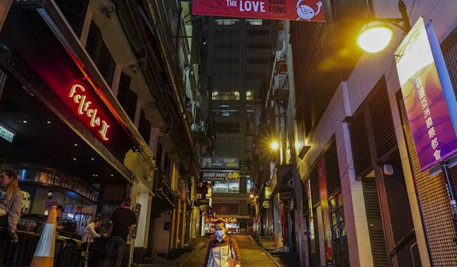 An almost empty pub area at Lan Kwai Fong in Central. Photo: Robert Ng