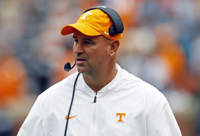 Tennessee head coach Jeremy Pruitt watches during the second half against Mississippi State. (AP Photo/Wade Payne)