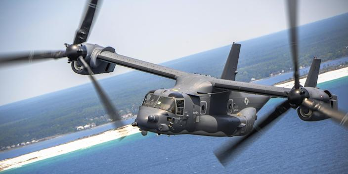 A US Air Force CV-22 in flight in a turboprop aircraft configuration.