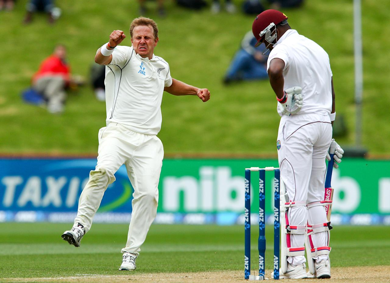 WELLINGTON, NEW ZEALAND - DECEMBER 13:  Neil Wagner of New Zealand celebrates after taking the wicket of Darren Bravo of the West Indies during day three of the Second Test match between New Zealand and the West Indies at Basin Reserve on December 13, 2013 in Wellington, New Zealand.  (Photo by Hagen Hopkins/Getty Images)