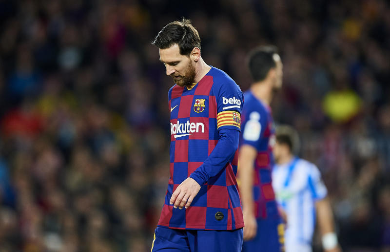 BARCELONA, SPAIN - MARCH 07: Lionel Messi of FC Barcelona reacts during the Liga match between FC Barcelona and Real Sociedad at Camp Nou on March 07, 2020 in Barcelona, Spain. (Photo by Silvestre Szpylma/Quality Sport Images/Getty Images)