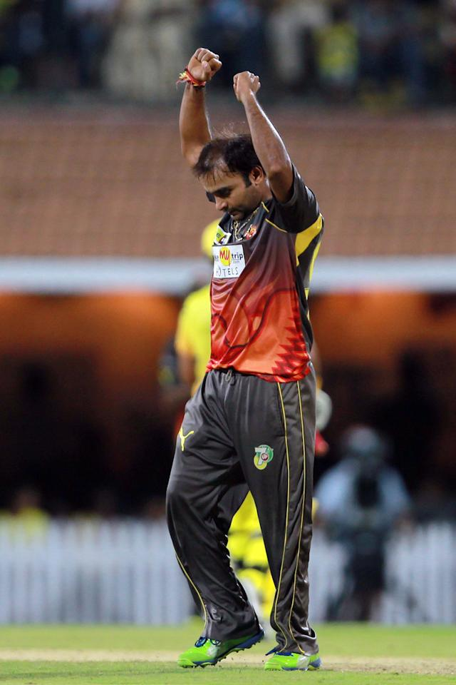 Amit Mishra celebrates the wicket of Suresh Raina during match 34 of the Pepsi Indian Premier League between The Chennai Super Kings and the Sunrisers Hyderabad held at the MA Chidambaram Stadium in Chennai on the 25th April 2013. (BCCI)