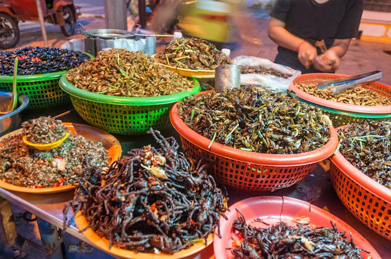 Deep Fried Insects For Sale A Street Market Stall In Phnom Penh, Cambodia. Image: Getty