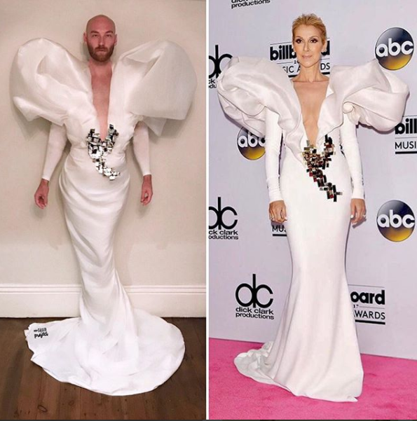 "<p>Martin made this look using ""a bedsheet for the bottom half, two socks for the sleeves. Two pillow cases and Dami Im's recycled foam packing dress to create the puffy top half,"" <a href=""https://www.instagram.com/p/BUd6LFslLrQ/?taken-by=thetilleyproject"" rel=""nofollow noopener"" target=""_blank"" data-ylk=""slk:he shared on Instagram"" class=""link rapid-noclick-resp"">he shared on Instagram</a>. (Photo: Courtesy of Lachlan Martin) </p>"