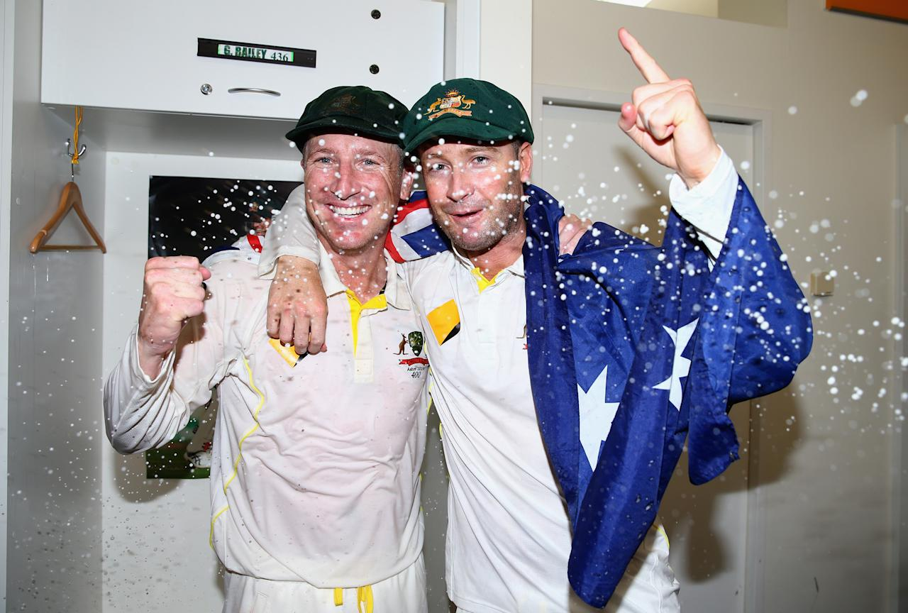 PERTH, AUSTRALIA - DECEMBER 17:  Brad Haddin and Michael Clarke of Australia celebrate victory in the change rooms during day five of the Third Ashes Test Match between Australia and England at WACA on December 17, 2013 in Perth, Australia.  (Photo by Ryan Pierse/Getty Images)