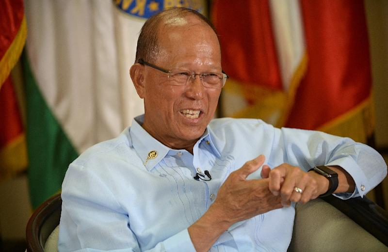 """Defence Secretary Delfin Lorenzana, seen in February 2017, said he and other top officials in Philippine President Rodrigo Duterte's administrationhad a """"very interesting and informative"""" visit to the US Navy aircraft carrier USS Carl Vinson"""