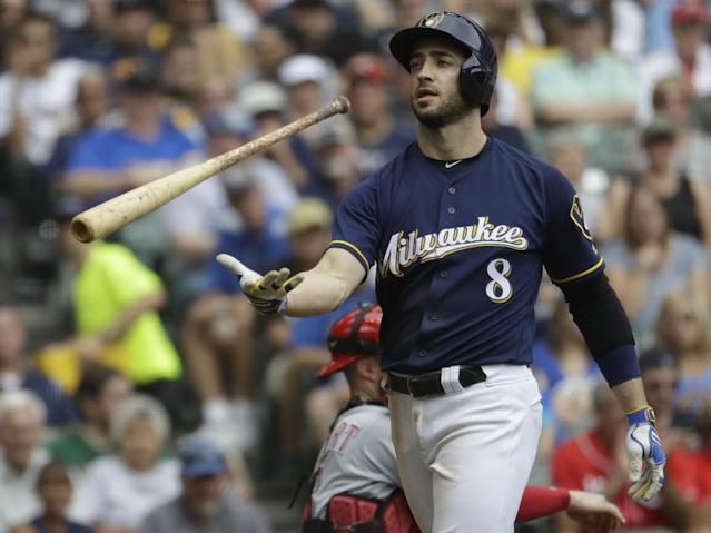 <p>Milwaukee Brewers' Ryan Braun reacts after striking out during the fifth inning of a baseball game against the Cincinnati Reds Sunday, Aug. 13, 2017, in Milwaukee. (AP Photo/Morry Gash) </p>