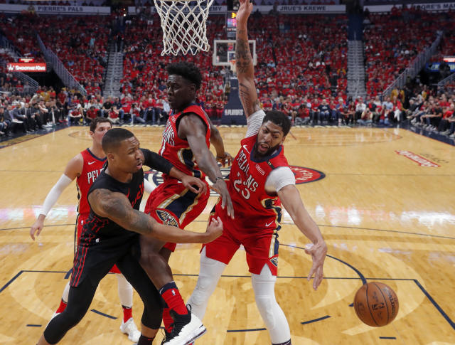 Nearly everywhere Damian Lillard has gone in this series, he has been forced to work around the arms and bodies of Jrue Holiday, Nikola Mirotic and Anthony Davis. (AP)