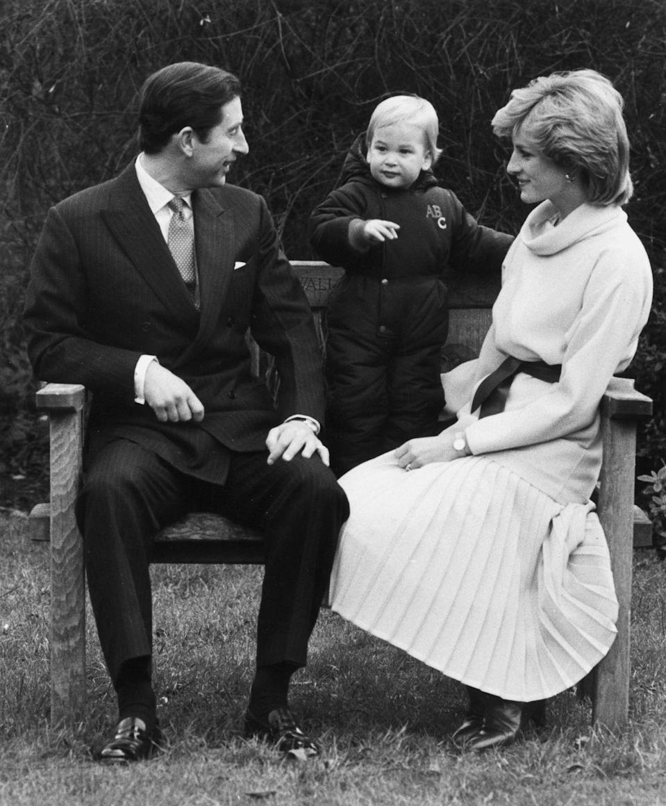 <p>With Prince Charles and Prince William at Kensington Palace. </p>