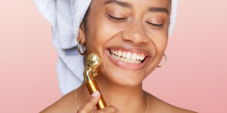 """<p>If you're thinking of treating your skin to something <em>really</em> good, take this as your sign that it's time. You may think that a massage or a facial at a spa is worth the splurge, but we're here to introduce you to face massage tools, which can help you maintain that same level of sculpted glow from the comfort of your own home.</p><p>Face massagers come in all different types. There are tools built for sculpting, for cleansing, ones that vibrate and others that use microcurrents to help stimulate the skin. Some are rooted in ancient Eastern medicine like <a href=""""https://www.bestproducts.com/beauty/a28688066/gua-sha-tools/"""" rel=""""nofollow noopener"""" target=""""_blank"""" data-ylk=""""slk:gua sha"""" class=""""link rapid-noclick-resp"""">gua sha</a> and <a href=""""https://www.bestproducts.com/beauty/a2173/do-jade-rollers-really-work/"""" rel=""""nofollow noopener"""" target=""""_blank"""" data-ylk=""""slk:jade rollers"""" class=""""link rapid-noclick-resp"""">jade rollers</a>, while others are ultra high-tech. No matter your skin concerns, there's a face massager out there for you.</p><p>Plus, did you know <a href=""""https://www.ncbi.nlm.nih.gov/pmc/articles/PMC5383004/"""" rel=""""nofollow noopener"""" target=""""_blank"""" data-ylk=""""slk:research says"""" class=""""link rapid-noclick-resp"""">research says</a> that a vibrating massage tool can help aid in your skin's absorption of serums? Well, now you do. These top-rated face massagers will help you maintain all the hard work your esthetician put in, so find the best tool for you now.</p>"""