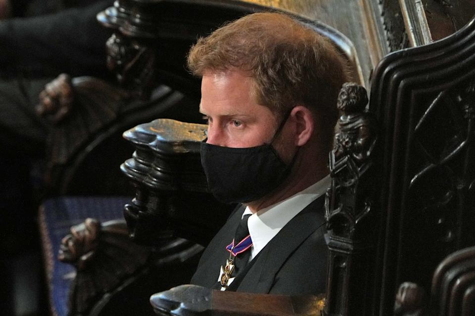 <p>Like his grandmother, Harry also had to sit alone thanks to flying in from US for the funeral. (Getty Images)</p>