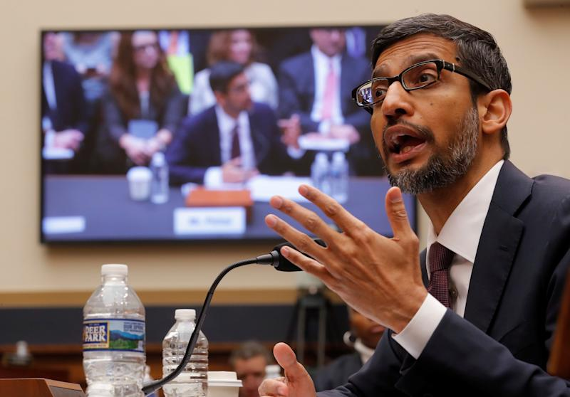 """Google CEO Sundar Pichai testifies at a House Judiciary Committee hearing """"examining Google and its Data Collection, Use and Filtering Practices"""" on Capitol Hill in Washington, U.S., December 11, 2018. REUTERS/Jim Young"""