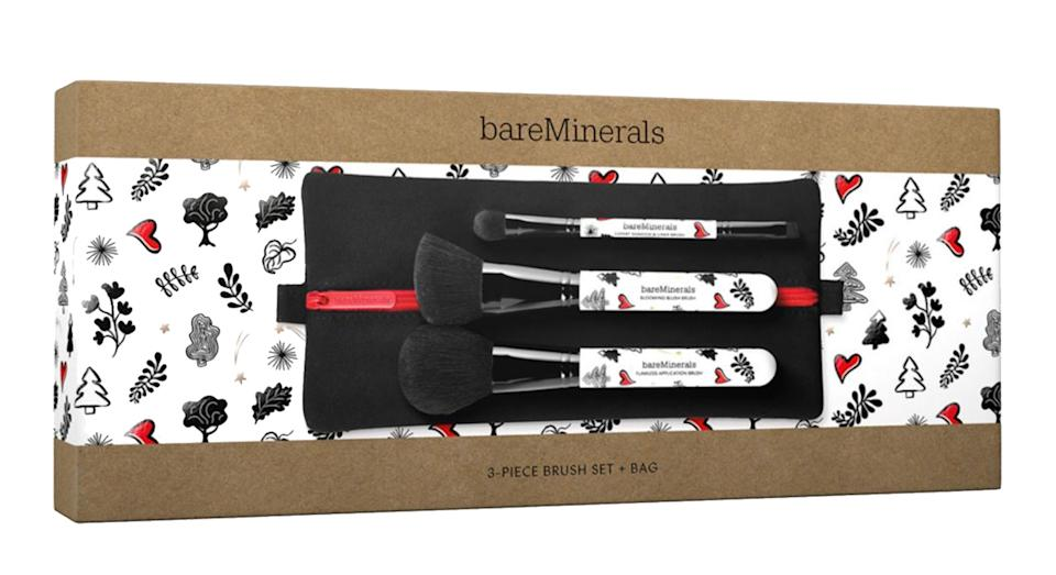 bareMinerals 3-Piece Brush Set + Bag