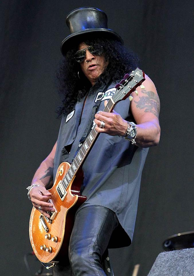 "Slash is one of the few guitarists known by his own name, instead of just his former band, Guns N' Roses. In 2008, <i>Guitar World</i> magazine even named the star's performance on the song ""November Rain"" as No. 6 on its list of the 100 Greatest Guitar Solos. Danny Martindale/<a href=""http://www.wireimage.com"" target=""new"">WireImage.com</a> - July 9, 2011"