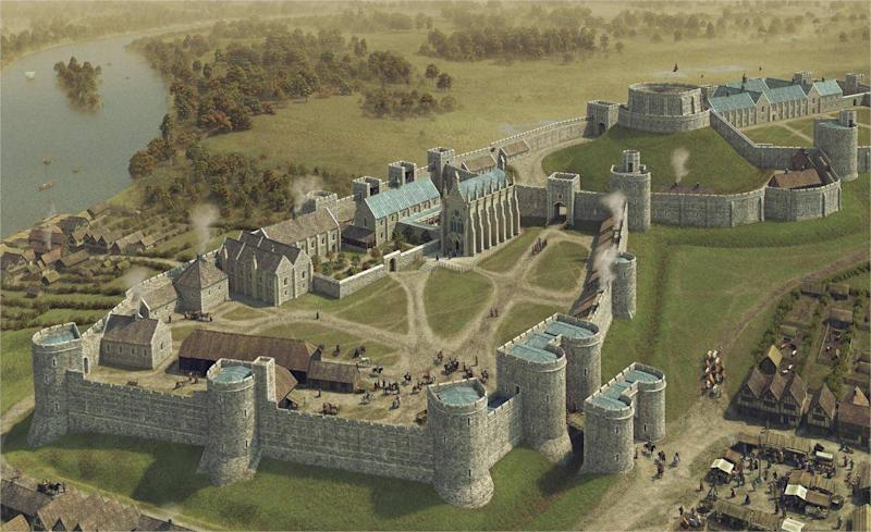 Artist's impression of the castle in circa 1272 shows, for the first time, how the fortress changed dramatically during the 13th century to assume the basic layout it still has today (Royal Trust Collection/Bob Marshall)