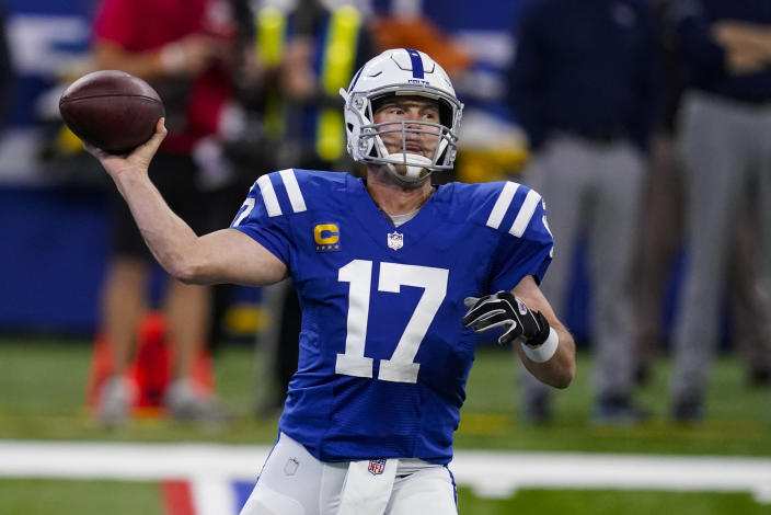 Indianapolis Colts quarterback Philip Rivers (17) throws against the Tennessee Titans in the first half of an NFL football game in Indianapolis, Sunday, Nov. 29, 2020. (AP Photo/Darron Cummings)