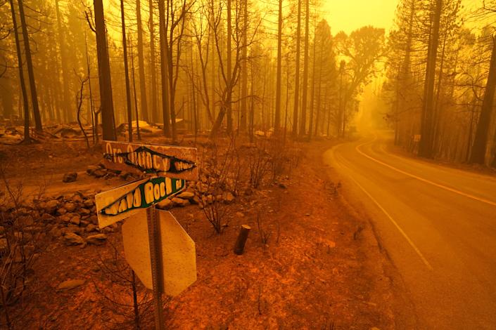A smoky, yellow hue caused by the Bear Fire is seen in Berry Creek, California on Wednesday afternoon, Sept. 9, 2020.