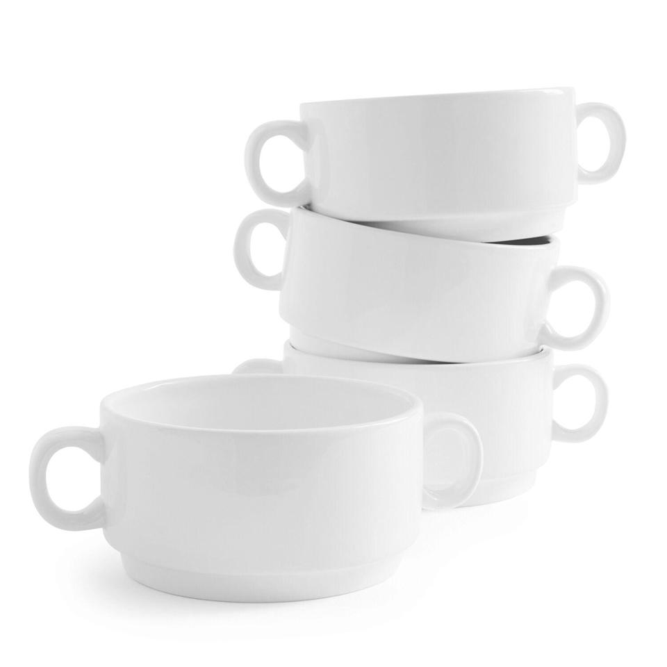 "<p>surlatable.com</p><p><a href=""https://go.redirectingat.com?id=74968X1596630&url=https%3A%2F%2Fwww.surlatable.com%2Fdouble-handle-bowls-set-of-4%2FPRO-2027647.html&sref=https%3A%2F%2Fwww.goodhousekeeping.com%2Flife%2Fmoney%2Fg34145489%2Fsur-la-table-anniversary-sale-2020%2F"" rel=""nofollow noopener"" target=""_blank"" data-ylk=""slk:Shop Now"" class=""link rapid-noclick-resp"">Shop Now</a></p><p><strong><del>$34.95</del> $27.96 (25% off)</strong></p><p>Soup season is officially here, so you'll get plenty of mileage out of these large, double-handle bowls. </p>"