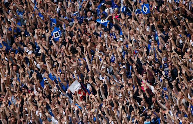 Soccer Football - Bundesliga - Hamburger SV v Borussia Moenchengladbach - Volksparkstadion, Hamburg, Germany - May 12, 2018 General view of Hamburger SV fans before the match REUTERS/Morris Mac Matzen DFL RULES TO LIMIT THE ONLINE USAGE DURING MATCH TIME TO 15 PICTURES PER GAME. IMAGE SEQUENCES TO SIMULATE VIDEO IS NOT ALLOWED AT ANY TIME. FOR FURTHER QUERIES PLEASE CONTACT DFL DIRECTLY AT + 49 69 650050
